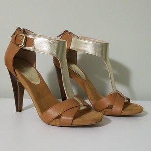 Camel Tan Gold Leather Sandal heels
